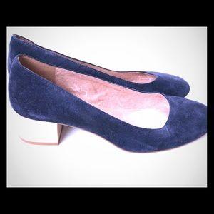 Madewell Suede Ella Heels Navy wooden chunky heel